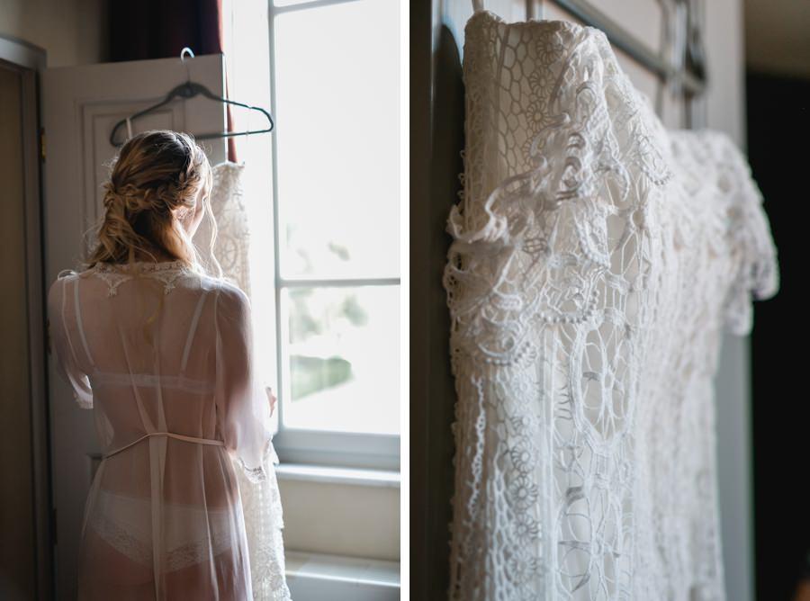 Schöner Morgenmantel und Brautkleid von Ivory Isle by Stefanie Reindl Photography