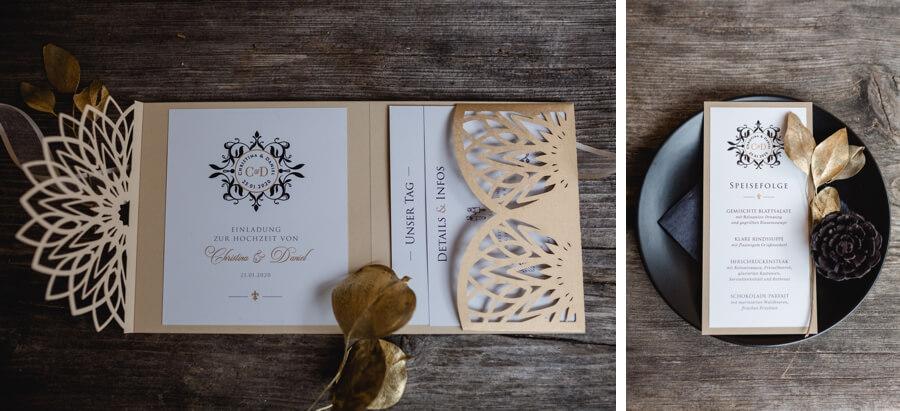 Hochzeitspapeterie in Gold - Stefanie Reindl Photography