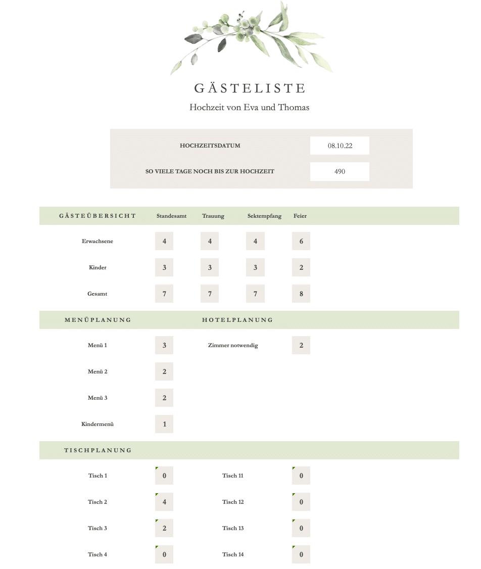 praktische Gästeliste zur Hochzeit als Excel-Datei