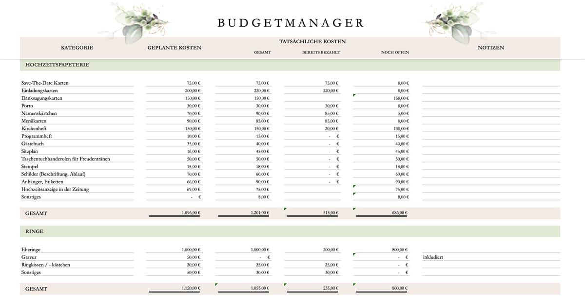 Was für ein Budget braucht man bei einer Hochzeit? Mit dem Budgetplaner hast du den Überblick