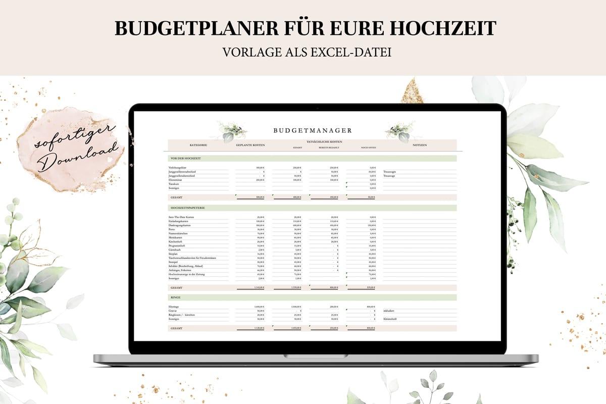 Budgetplaner für eure Hochzeit - Hochzeitskosten im Überblick