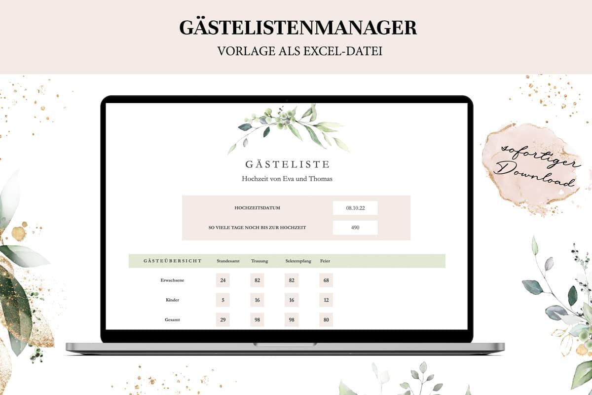 Gästeliste Hochzeit - Excel-Vorlage zum Download